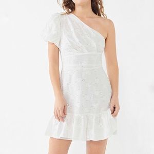 Urban Outfitters Claire Eyelet One Shoulder Dress